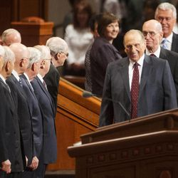 President Thomas S Monson leads his councilors, President Henry B Eyring and President Dieter F. Uchtdorf onto the stand for the Saturday morning session of the 183rd Semiannual General Conference for the Church of Jesus Christ of Latter-day Saints Saturday, Oct. 5, 2013 inside the Conference Center.