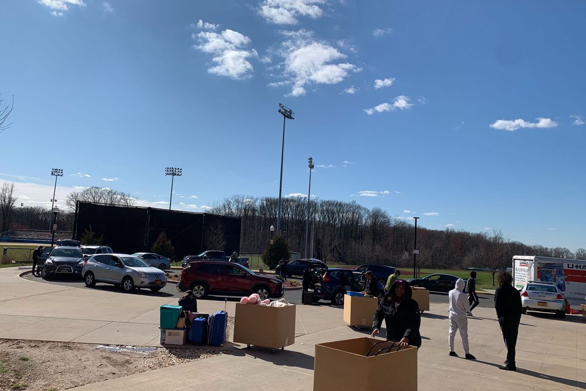 Students at the College of Staten Island gathered their belongings for a hasty move.