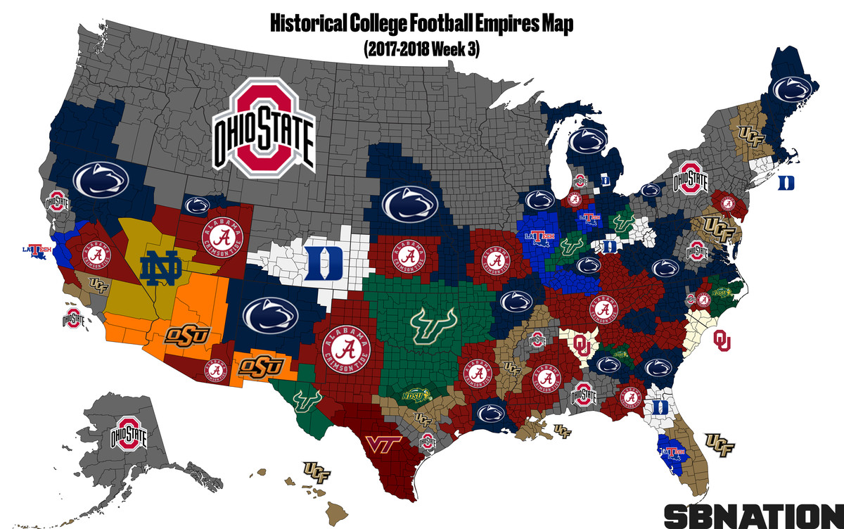 College Football Empires Map: LSU the new No. 1 - SBNation.com