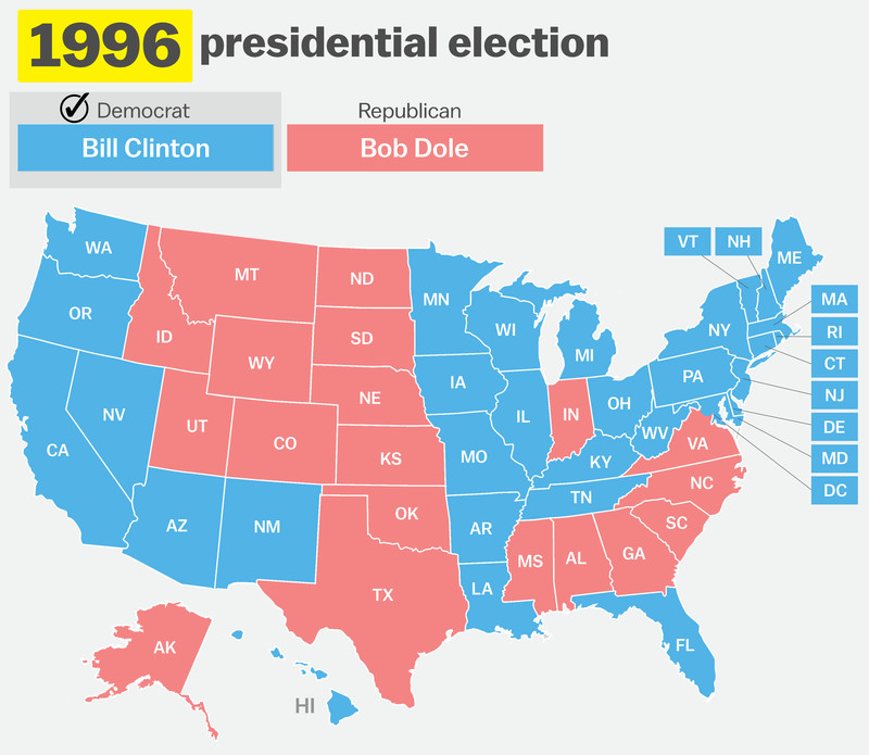 How Has Your State Voted In The Past Elections Vox - Us electoral map 1996