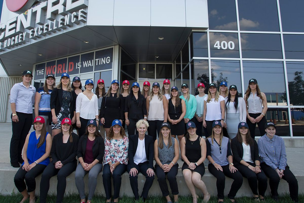 2017 CWHL Draft class with Commissioner Andress