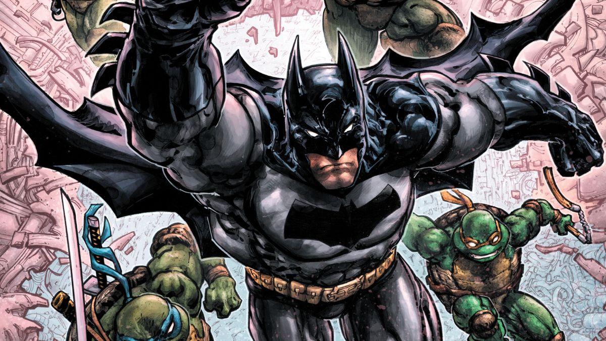 The cover of Batman/TMNT III #1, DC Comics, IDW Publishing (2019).