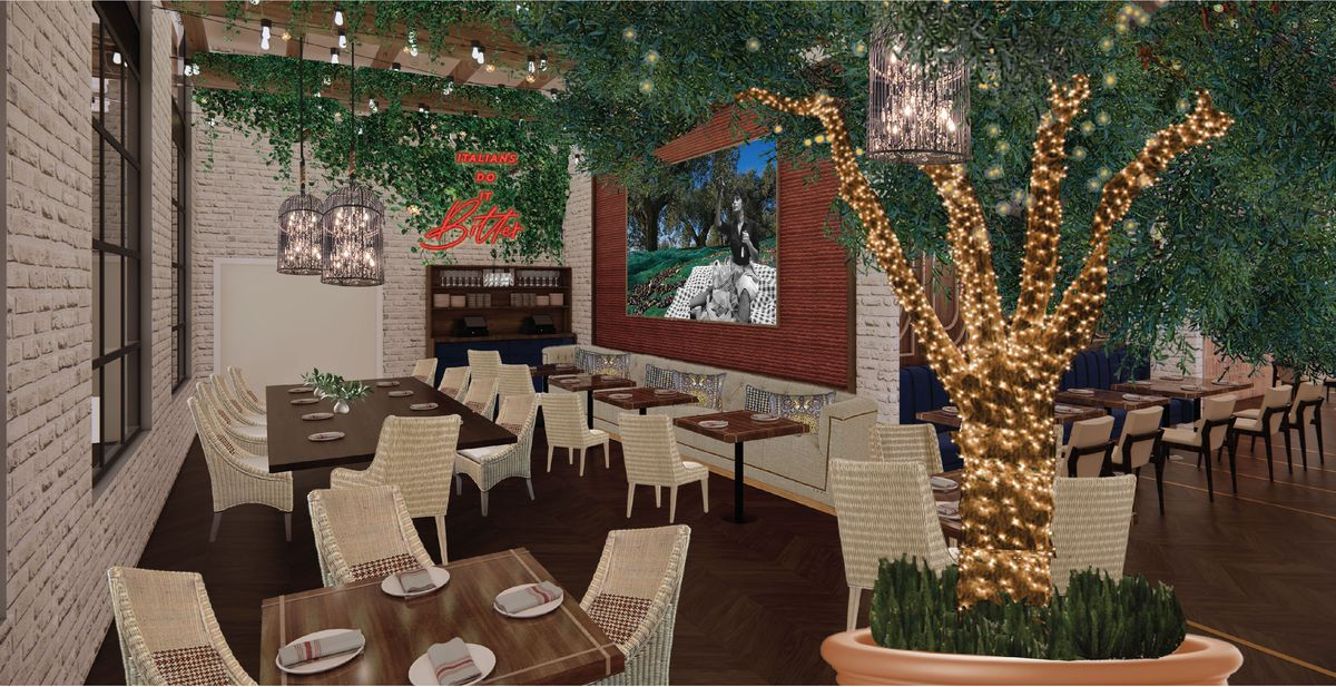 A rendering of the patio at Ballo