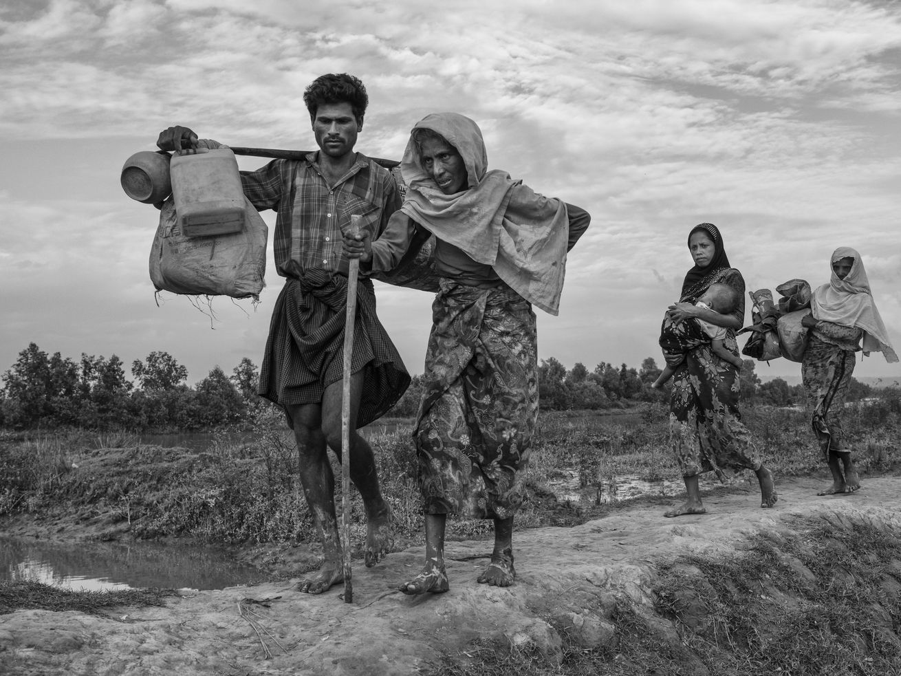 Rohingya refugees after crossing the border from Myanmar into Bangladesh in November 2017.