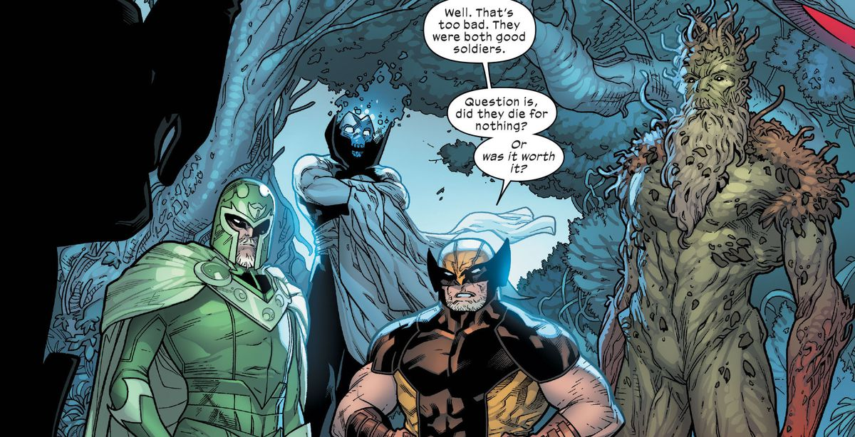 LTR Magneto, Xorn, Wolverine, and Black Tom Cassidy (at least, potentially) in Powers of X #1, Marvel Comics (2019).