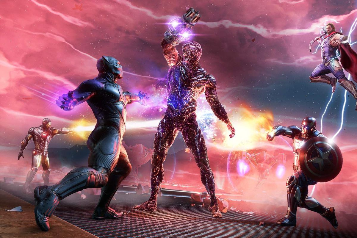 T'Challa and the Avengers fighting enemies in Marvel's Avengers