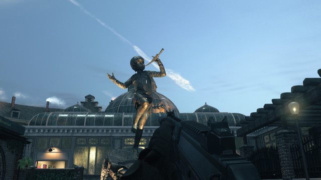 A Pied Piper statue from Modern Warfare's Cheshire Park map