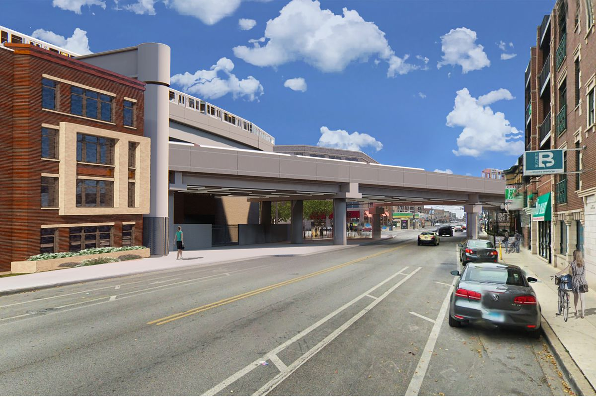 A rendering of the modernization project shows Clark Street with four-story brick buildings on either side and a new, grey CTA tracks over the street.