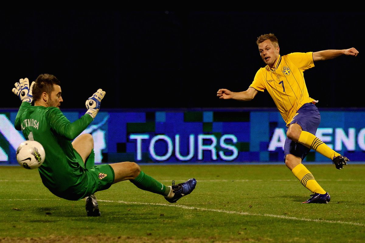 Seb Larsson was a two goal hero for Sweden against Croatia.