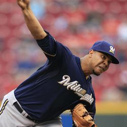 Milwaukee Brewers starter Wily Peralta throws against the Cincinnati Reds in the first inning of a baseball game, Thursday, Sept. 27, 2012, in Cincinnati.