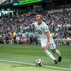 June 29, 2019 - Saint Paul, Minnesota, United States - Chase Gasper sends the ball in during an MLS match between Minnesota United FC and FC Cincinnati