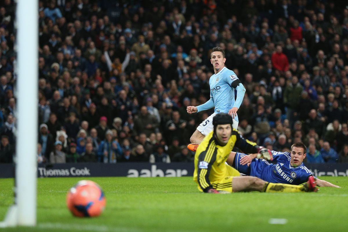 Jovetic sees his side-footed finish put City ahead against Chelsea.
