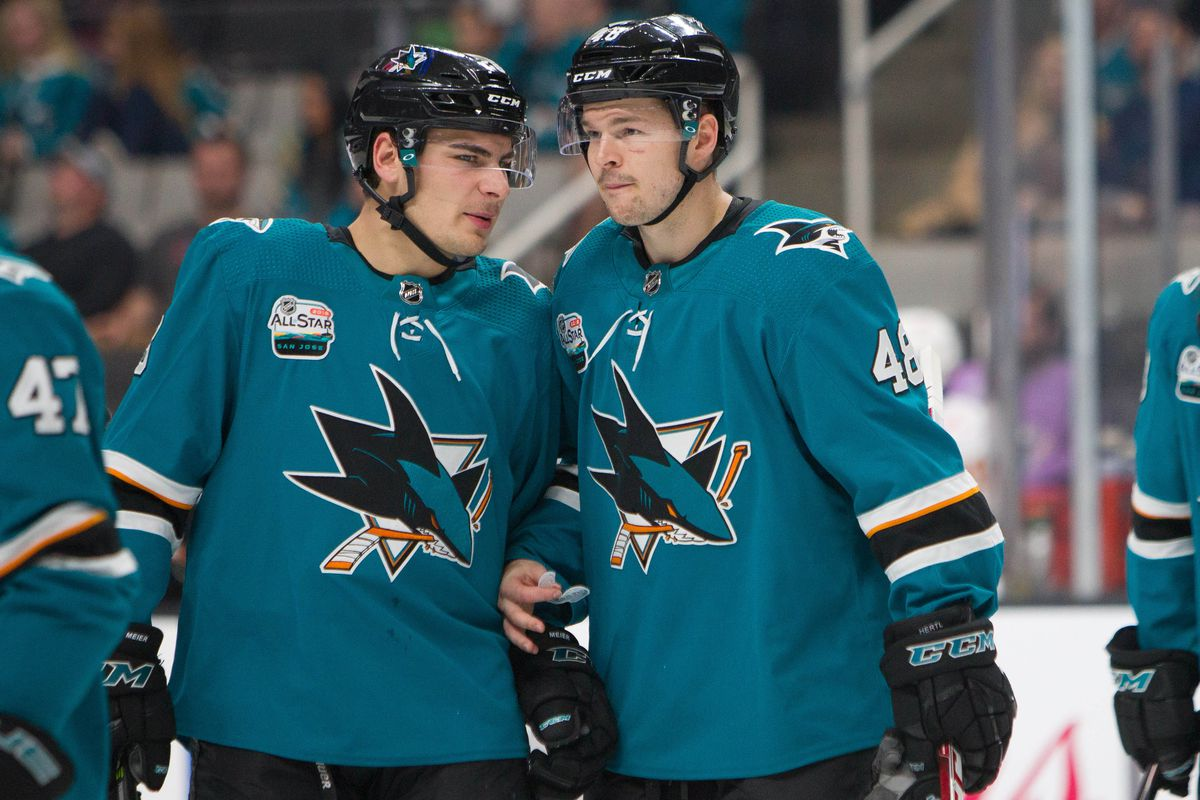 Nov 11, 2018; San Jose, CA, USA; San Jose Sharks winger Timo Meier and center Tomas Hertl talk ahead of the second period against the Calgary Flames at SAP Center at San Jose.