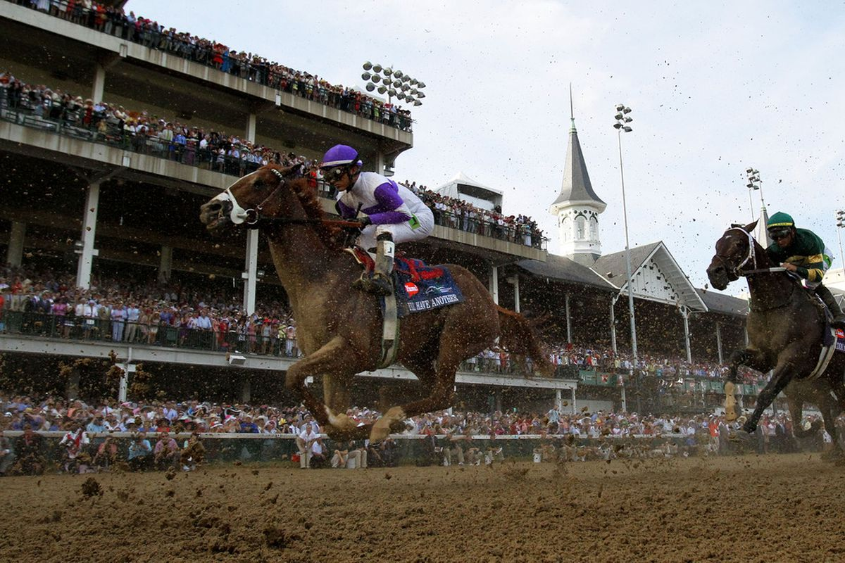 LOUISVILLE, KY - MAY 05:  Mario Gutierrez crosses the finish line atop I'll Have Another to win the 138th running of the Kentucky Derby at Churchill Downs on May 5, 2012 in Louisville, Kentucky.  (Photo by Rob Carr/Getty Images)