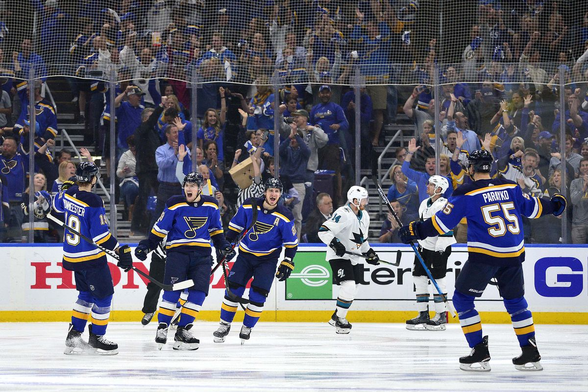 St. Louis Blues center Ivan Barbashev (49) is congratulated by teammates after scoring during the first period in game four of the Western Conference Final of the 2019 Stanley Cup Playoffs against the San Jose Sharks at Enterprise Center.