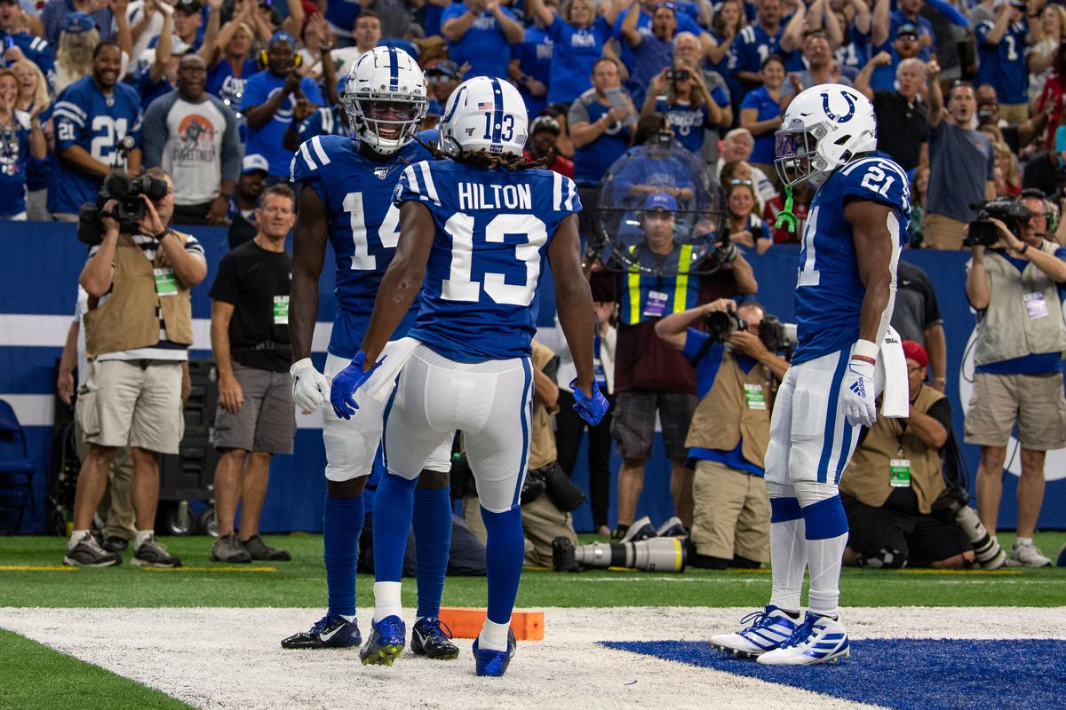 Indianapolis Colts wide receiver Zach Pascal and wide receiver T.Y. Hilton celebrate a touchdown during the NFL game between the Atlanta Falcons and the Indianapolis Colts on September 22, 2019 at Lucas Oil Stadium, in Indianapolis, IN.