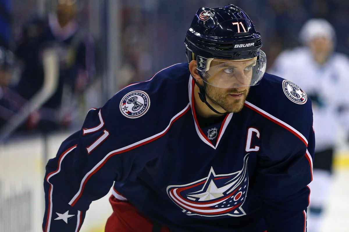 Oct 15, 2016; Columbus, OH, USA; Columbus Blue Jackets left wing Nick Foligno (71) against the San Jose Sharks at Nationwide Arena. The Sharks won 3-2.