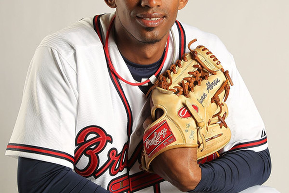 LAKE BUENA VISTA FL - FEBRUARY 21: Juan Abreu #61 of the Atlanta Braves during Photo Day at  Champion Stadium at ESPN Wide World of Sports of Complex on February 21 2011 in Lake Buena Vista Florida. (Photo by Mike Ehrmann/Getty Images)