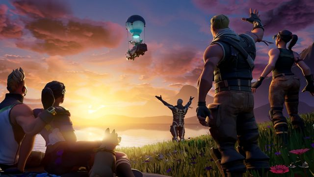Fortnite characters saving goodbye to the battle bus