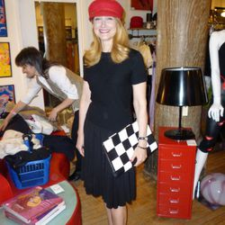 Patricia Clarkson takes a pause from hat shopping in at the Chelsea Housingworks