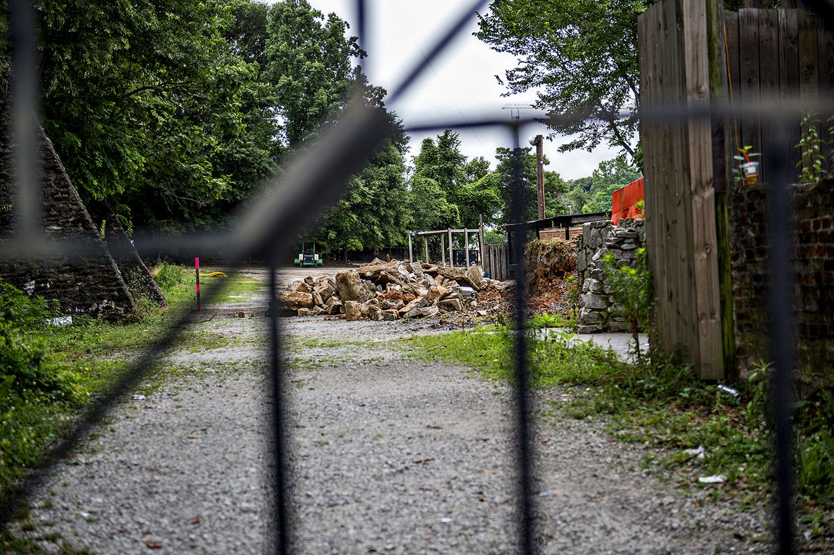 Piles of rubble from the stage and outbuildings in the music park section of The Masquerade.