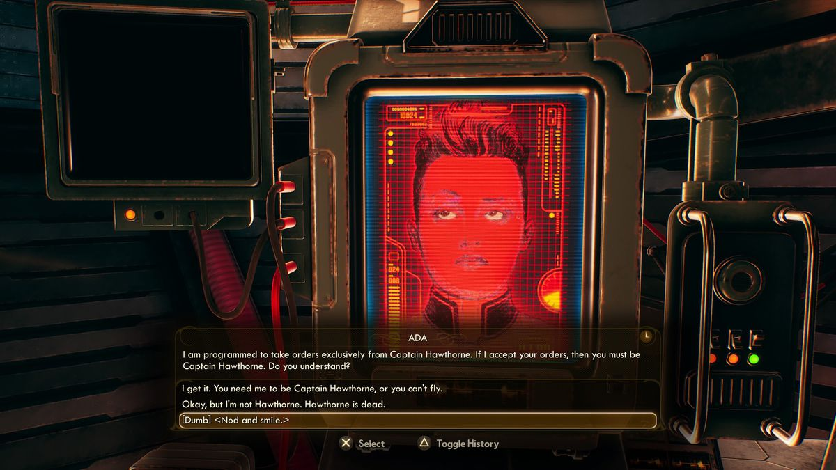 A character smiles and nods to indicate they don't understand a question from ADA in The Outer Worlds