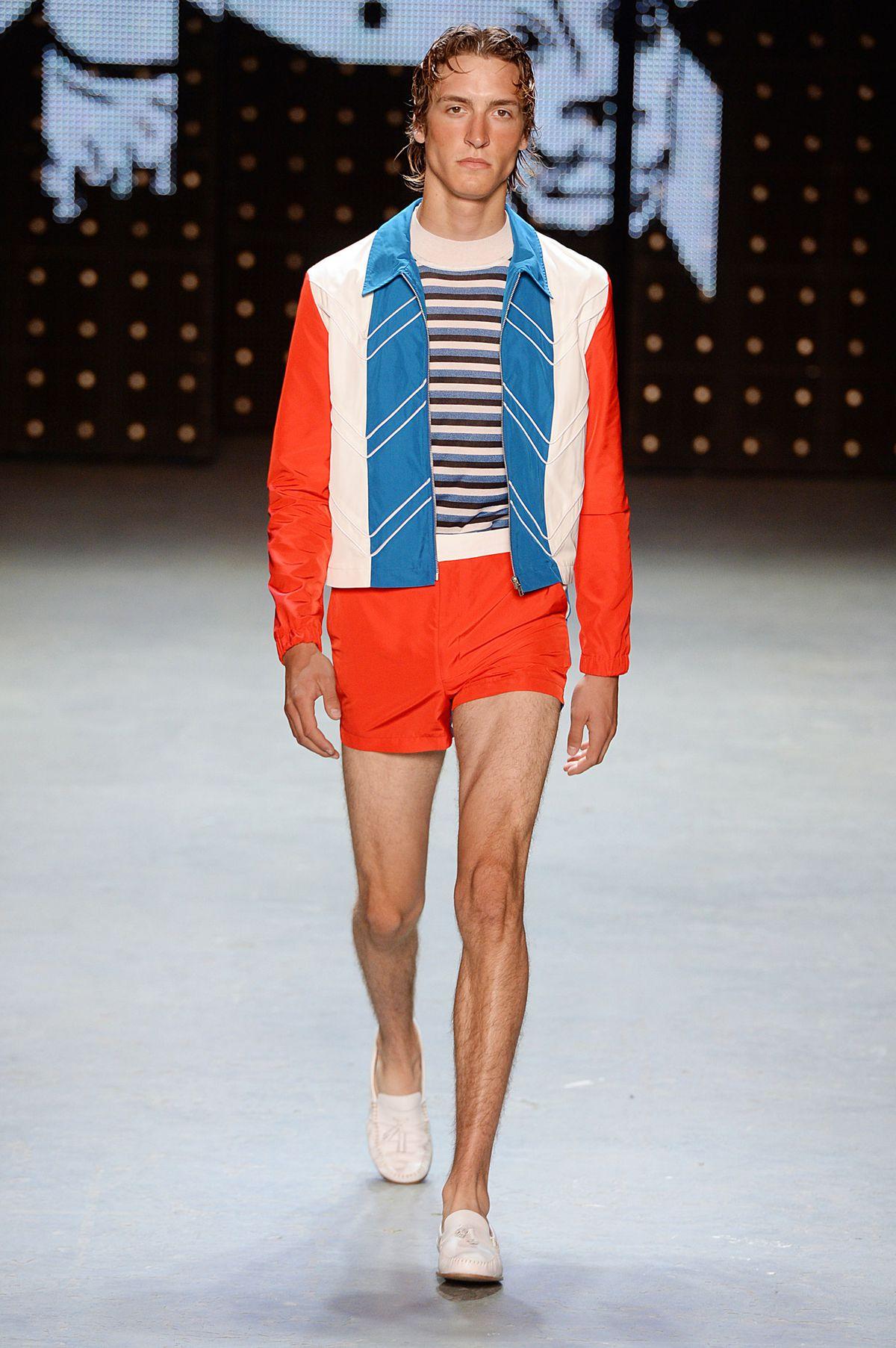 Male model walking on Topman's runway