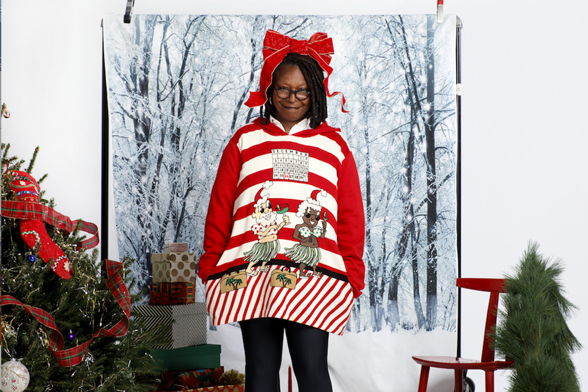 Whoopi Goldbergs New Sweaters Feature Black Santas And Interracial