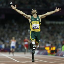 South Africa's Oscar Pistorius wins gold in the men's 400-meter T44 final at the 2012 Paralympics in London. Pistorius also competed at the London Olympics, where he made the semifinals in his favored event, the 400 meters.