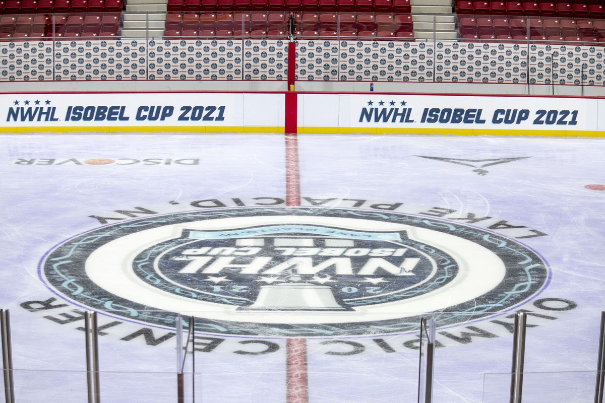 The NWHL logo on the ice at the 1980 Rink-Herb Brooks Arena in Lake Placid, NY on Jan. 22, 2021.