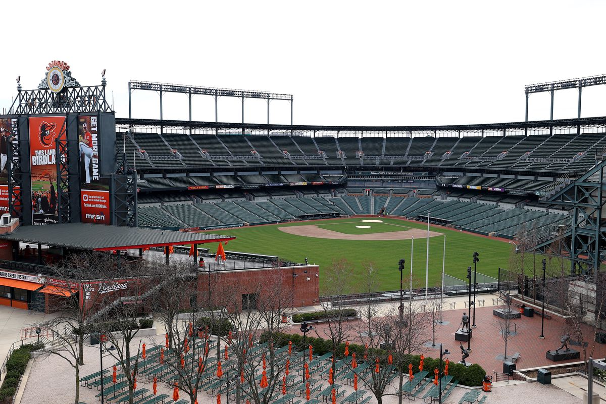 A general view of Oriole Park at Camden Yards on March 13, 2020 in Baltimore, Maryland. Major League Baseball cancelled spring training games and has delayed opening day by at least two weeks due to COVID-19.