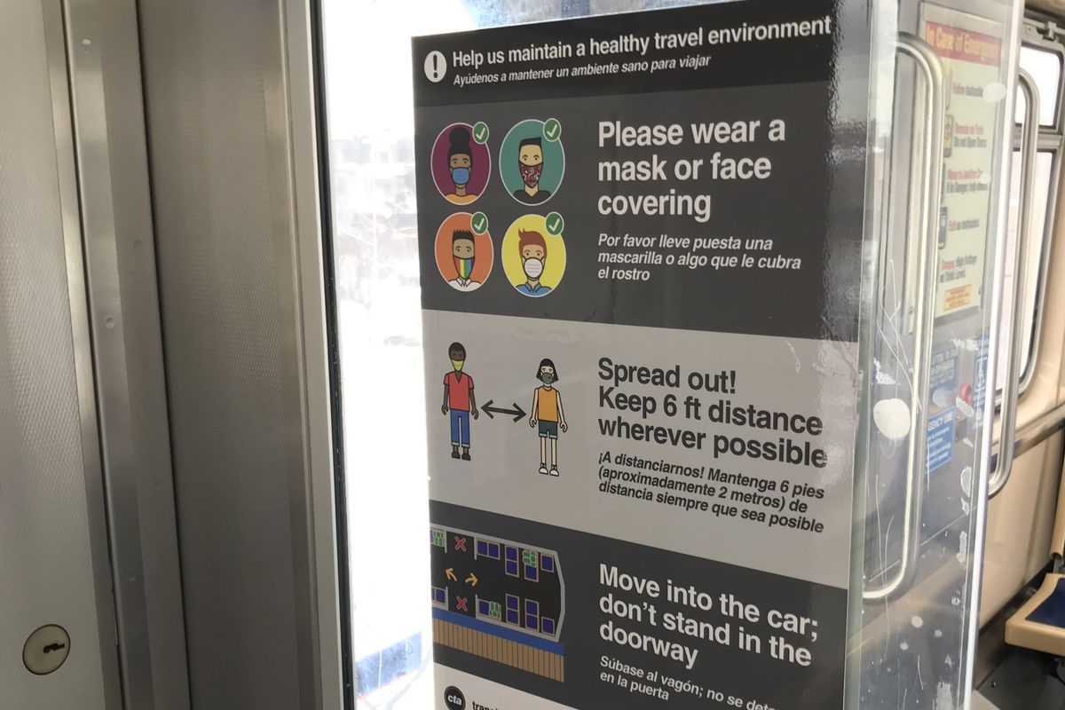 Sign on a CTA train telling passengers to wear masks, and maintain social distancing.