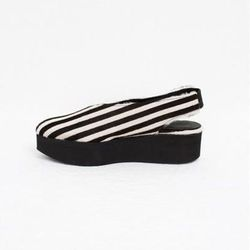 """Creatures of Comfort x LD Tuttle Greta platform in striped pony, <a href=""""http://shop.creaturesofcomfort.us/creaturesofcomfortxldtuttlegretaplatform-stripedpony.aspx"""">$790</a>"""