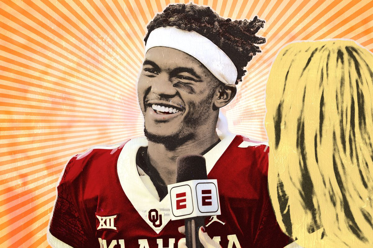 Illustration of Kyler Murray smiling while talking to an ESPN reporter
