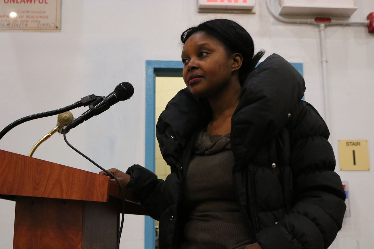 Mutale Nkonde, a parent in Brooklyn's District 16, asked education department officials how black and Hispanic students would be supported in specialized high schools.