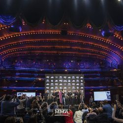 The scene at the UFC 229 press conference dais.