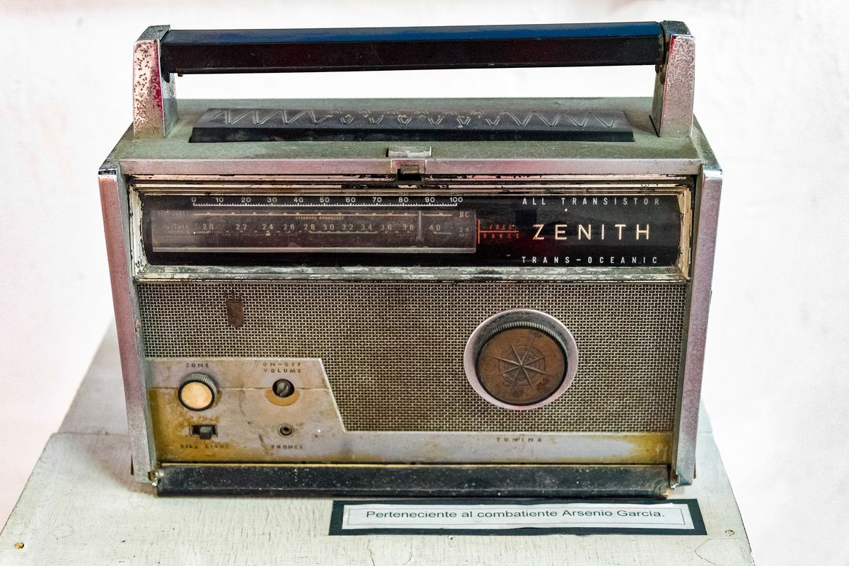 Antique, rusty Zenith transistor radio belonging to Arsenio...