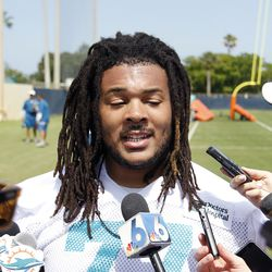 DAVIE, FL - MAY 23: Billy Turner #77 of the Miami Dolphins talks to the media after the rookie minicamp on May 23, 2014 at the Miami Dolphins training facility in Davie, Florida.