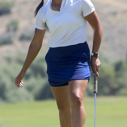 Kerstin Fotu watches her birdie putt just miss as she plays Naomi Soifua during the Utah Women's State Amateur at the Soldier Hollow Golf Course in Midway on Wednesday, July 15, 2020.