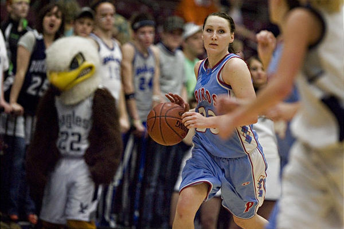 Pitue's Kandice Gleave as Piute High School defeats Duchesne High School  68-34 in the 1A state girls basketball championship game.