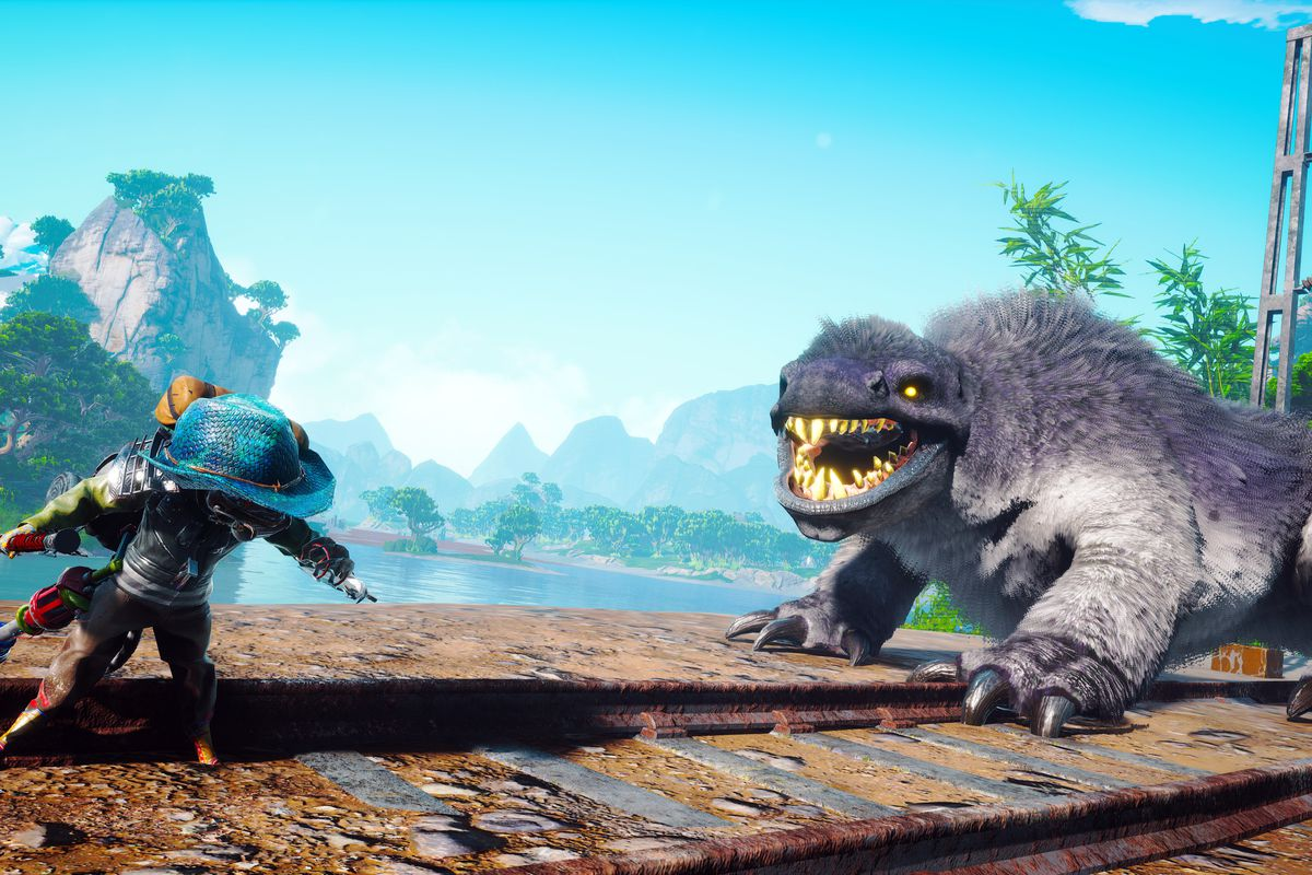 the player, at left, faces off a juvenile version of the Worldeater, which is furry and quadripedal, at right