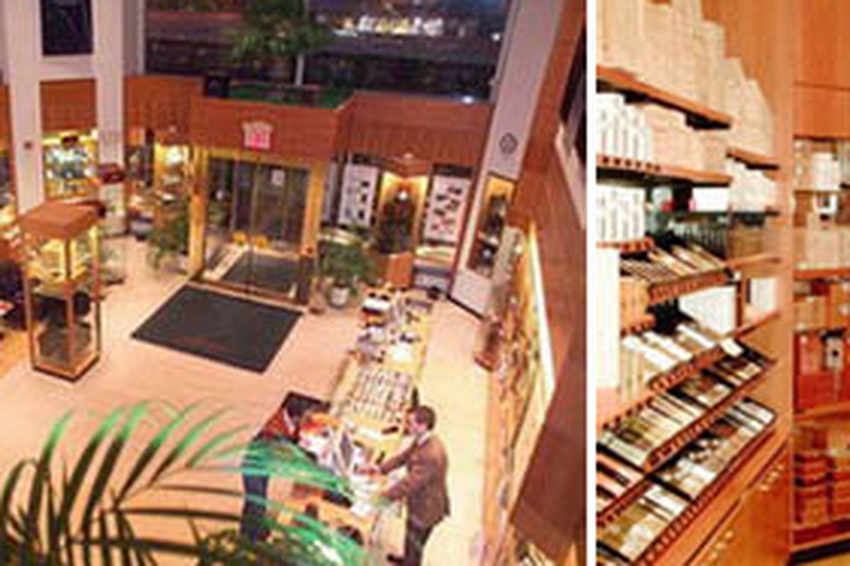 """Davidoff's current shop, left, and humidor, right, via <a href=""""http://www.davidoffmadison.com/"""">their website</a>"""