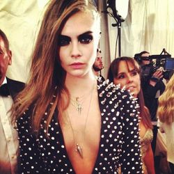 """<a href=""""http://instagram.com/p/Y_VPQekbzn/"""">Cara Delevingne<a/> and Burberry and spikes."""