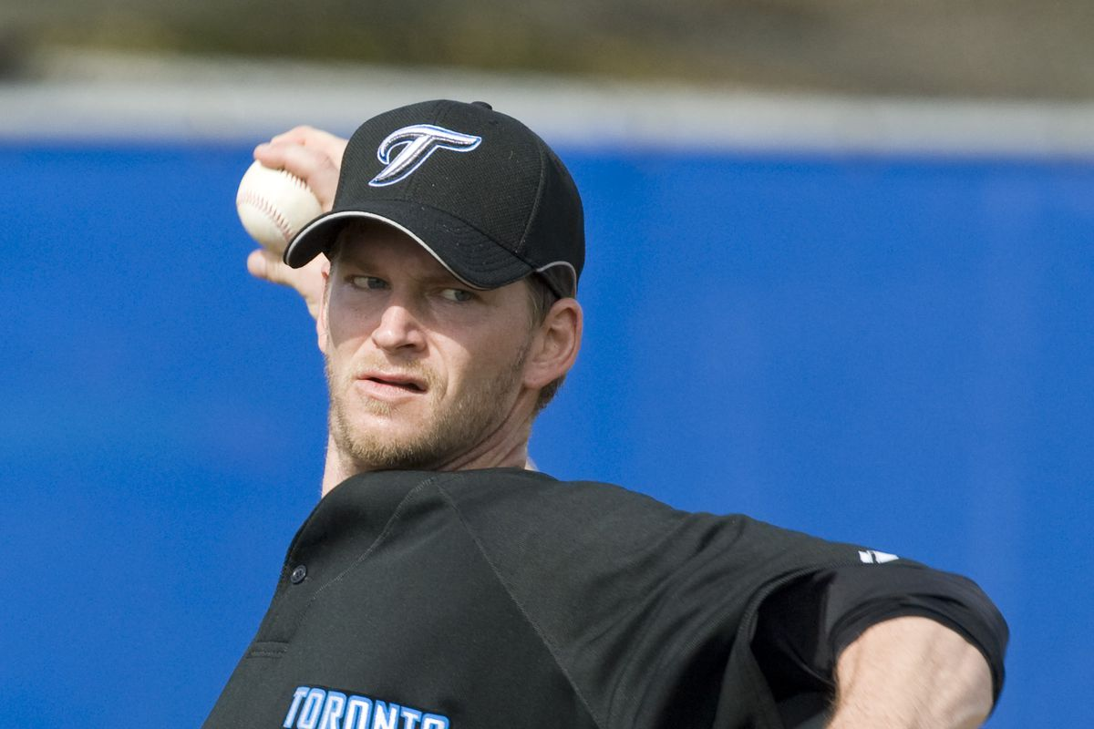 Feb 18 2008- Toronto Blue Jays' pitcher A.J. Burnett throws off the mound today during his workout.