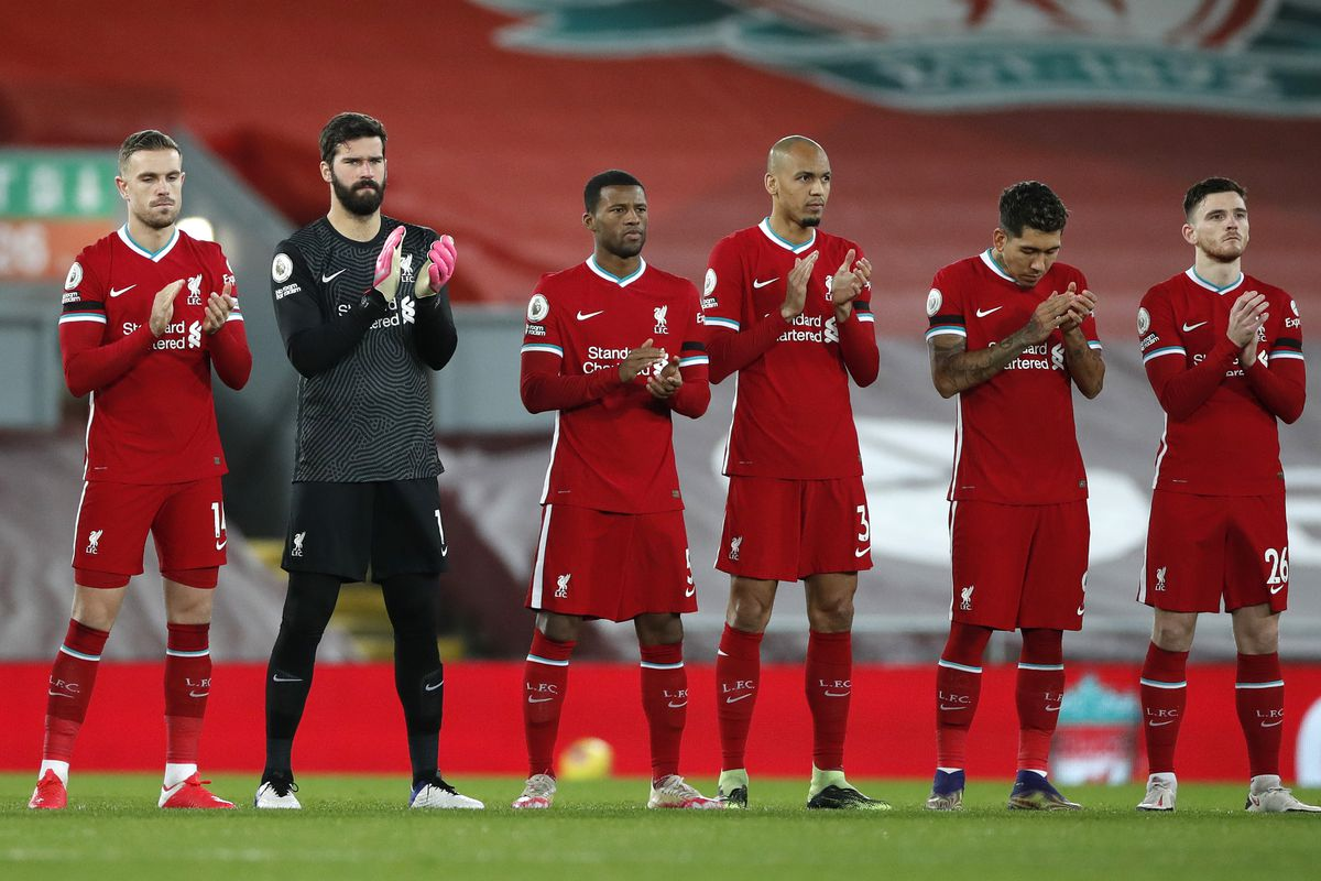 Liverpool players before the match