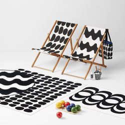 Deck Chairs, $74.99 ; Outdoor Rug, $79.99; Bocce Set, $99.99