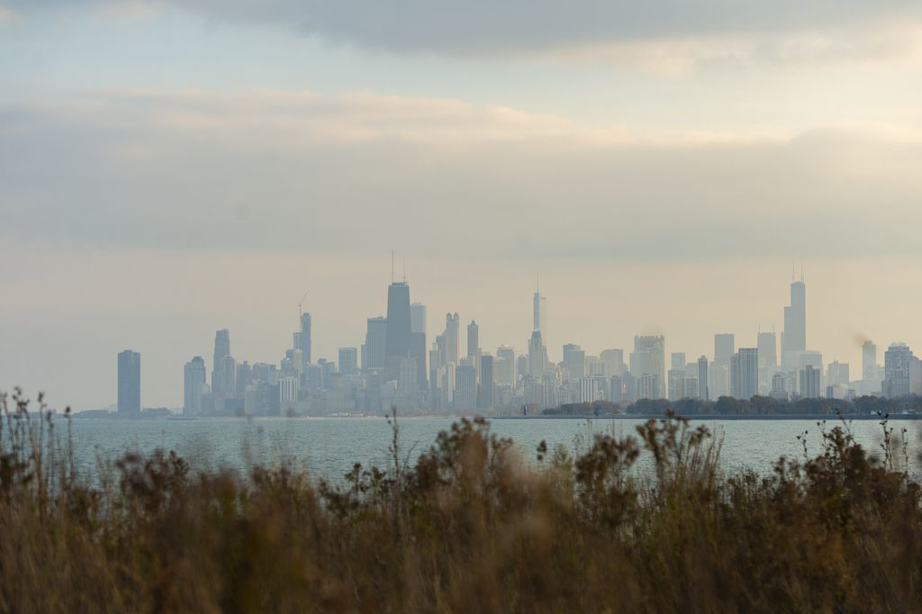 The Chicago skyline on a partly cloudy day