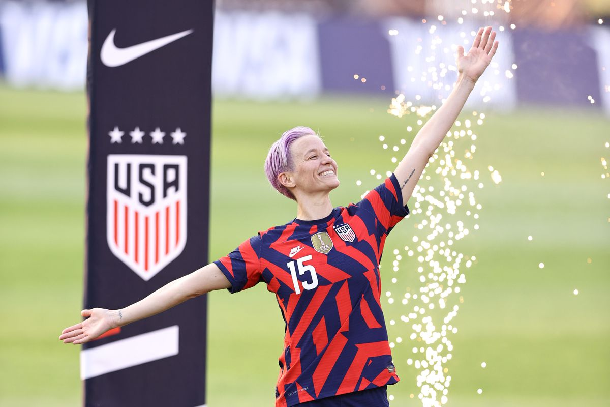 Megan Rapinoe of the United States is announced during the Send Off ceremony following the Send Off series match against Mexico at Rentschler Field on July 05, 2021 in East Hartford, Connecticut.