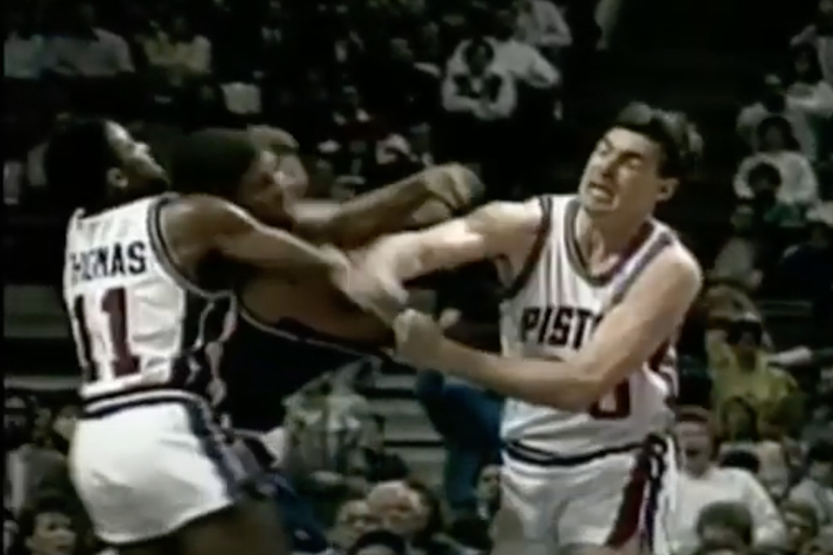 A throwback to Bill Laimbeer and the NBA's Detroit Bad Boys era.