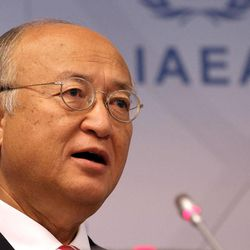 Director General of the International Atomic Energy Agency, IAEA, Yukiya Amano of Japan addresses the media during a news conference after a meeting of the IAEA board of governors at the International Center, in Vienna, Austria, Monday, Sept. 10, 2012.